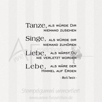 Textstempel Tanze Als Wurde Anne Fusselchens Stempelshop