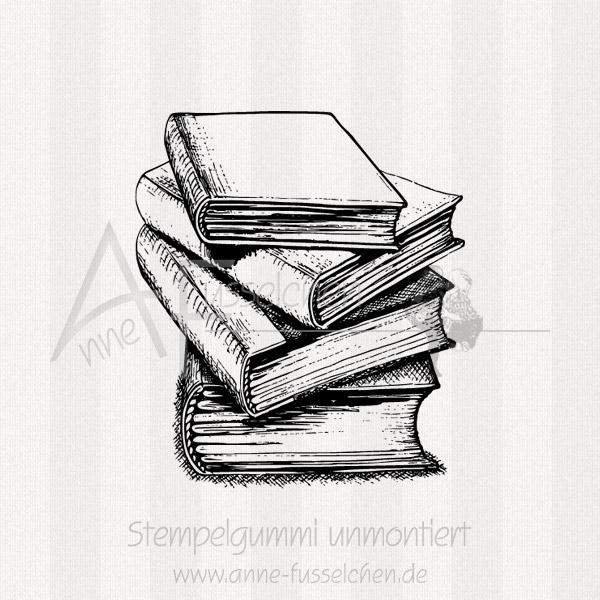 Bücherstapel zeichnung  Anne Fusselchens Stempelshop - Motivstempel - Bücherstapel 01  anne ...