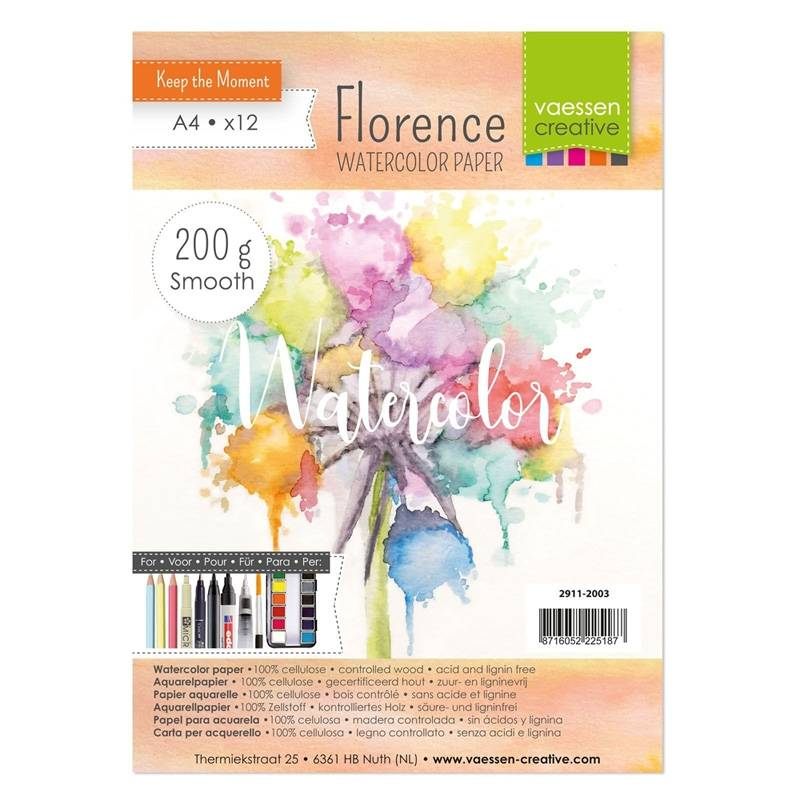 Florence Watercolor Paper - smooth | A4 x 12